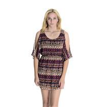 S Modern Love Aztek Print Cold Shoulder Blousan Dolman Mini Dress Elastic Waist