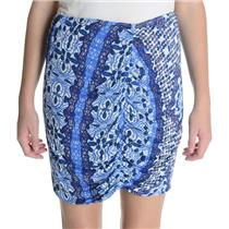 M NEW Weston Reversible Navy Solid/Royal Blue Print Talie Jersey Mini Skirt 3701