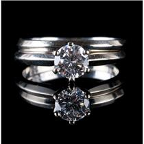Vintage 1970s 14k White Gold Diamond Solitaire Engagement Wedding Ring Set .70ct