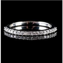14k White Gold Round Cut Diamond Wedding Anniversary Band / Ring .19ctw