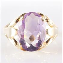 Vintage 1960's 14k Yellow Gold Oval Cut Amethyst Solitaire Cocktail Ring 15.5ct