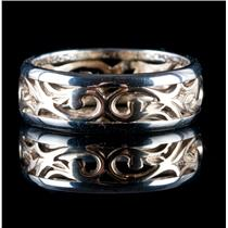 14k White & Yellow Gold Two-Tone Carved Band Ring W/ Floral Design 4.6g