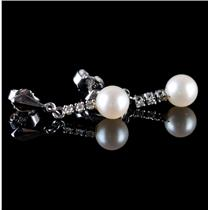 14k White Gold Cultured Pearl & Diamond Dangle Earrings .09ctw