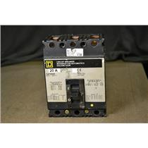 Square D 20A Circuit Breaker, FAP36020, 600VAC, 250VDC, Gray