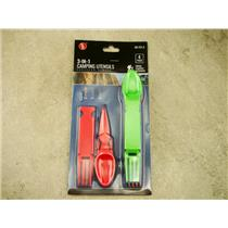 3-In-1 Camping Utensils, Fork, Knife, Spoon, Lightweight, Pocket Size, BPA Free