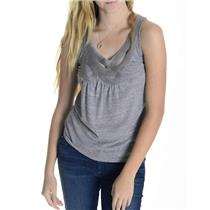 S Anthropologie Gray Sleeveless Heather Gray Cotton Blend Top w/Braided Front
