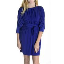 Sz 4 Suzi Chin for Maggy Boutique Indigo Blue Polyester Spandex Dress USA MADE