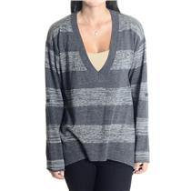 M Splendid Dark & Light Gray Bold Striped SOFT 100% Merino Wool V-neck Sweater