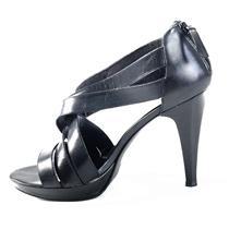 Sz 9.5 Chinese Laundry Black 'Lavine' Leather Upper Platform Open Toe Sexy Heels