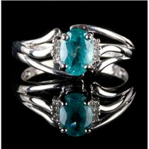 10k White Gold Oval Cut Apatite Solitaire Ring W/ Diamond Accents .945ctw