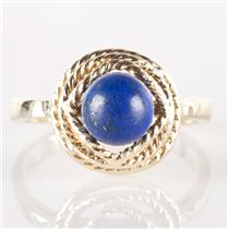Vintage 1960s 14k Yellow Gold Round Cut Half Drilled Lapis Lazuli Solitaire Ring