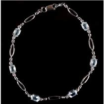 10k White Gold Oval Cut Aquamarine & Round Cut Diamond Tennis Bracelet 2.41ctw