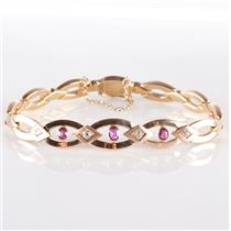 Vintage 1920's 14k Rose Gold Oval Cut Ruby & Mine Cut Diamond Bracelet .90ctw