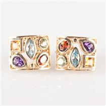 10k Yellow Gold Amethyst / Citrine / Garnet / Peridot / Topaz Earrings 4.10ctw