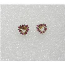 10K YELLOW GOLD RUBY DIAMOND HEART PIERCED EARRINGS N660-M