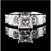14k White Gold Princess Cut Diamond Solitaire Stepped Engagement Ring 2.80ctw