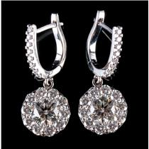 18k White Gold Round Cut Diamond Halo Dangle Earrings 2.56ctw