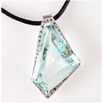 "14k White Gold Custom Made Aquamarine & Diamond Pendant W/ 18"" Silk Cord 87.3ctw"