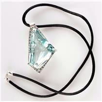 "14k White Gold Custom Made Aquamarine & Diamond Pendant W/ 18"" Silk Cord 87.3ctw"