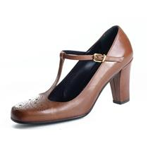 NEW Authentic Lorenzo Banfi Leather Ascot Brandy T-Strap Mary Janes Perforated