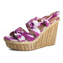 "(10) Bacio 61 Bacoli Tie Dye Lily Purple Leather/Suede Straw 5"" Wedge Sandal 322"
