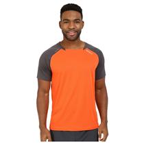 2XU Men's Tech Vent Two Tone Running Top - Orange / Grey - Men's Medium