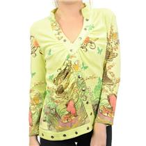 NWT Boho Green V-Neck Butterfly Floral Print Snap Chic Button Front Jersey Top