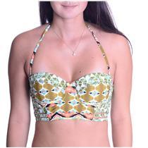 NWT S Volcom Tribal Print Bikini Top Underwire & Optional Strap w/Light Padding