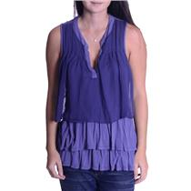 S Clu + Willoughby Anthropologie Periwinkle Blue Falda Sleeveless Tiered Top