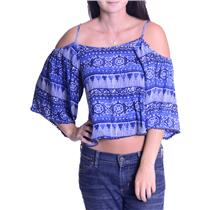 S House of Harlow 1960 Blue & White Cropped Top Cold Shoulder Adjustable Straps