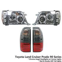 Chrome Headlight+Red Smoke LED Tail Light Fit Land Cruiser Prado FJ90 FJ95 96-02