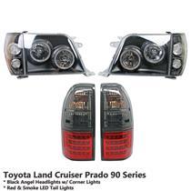 Black Headlight+Red Smoke LED Tail Light Fit Land Cruiser Prado FJ90 FJ95 96-02