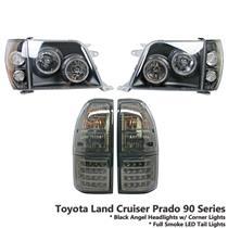 Black Headlight+Full Smoke LED Tail Light Fit Land Cruiser Prado FJ90 FJ95 96-02