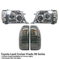 Chrome Headlight+Full Smoke LED Tail Light Fit Land Cruiser Prado J90 FJ95 96-02