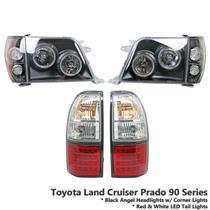 Black Headlight+Red White LED Tail Light Fit Land Cruiser Prado FJ90 FJ95 96-02