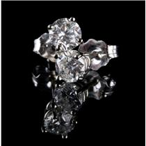 """14k White Gold Round Cut """"H"""" Diamond Solitaire Stud Earrings .61ctw"""