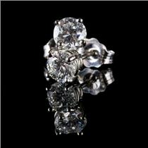 14k White Gold Round Cut Diamond Solitaire Stud Earrings .67ctw