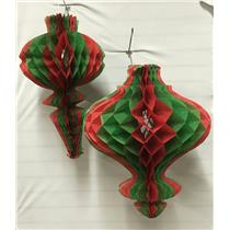 2 Vintage Beistle 22 inch Tissue Honeycomb Christmas Ornaments Party Decoration