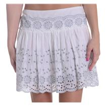40/6 NEW See by Chloe Anglaise Cotton Poplin Skirt White Grey Eyelet Embroidery