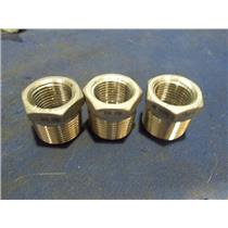 """(LOT OF 3) 316 Cast Pipe Fitting, Hex Bushing, MSS SP-114, 3/4"""" X 1/2"""""""