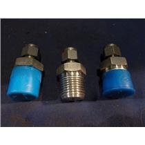 "(LOT OF 3) HY-LOK MALE CONNECTORS 1/4"" T X 1/2"" MNPT"