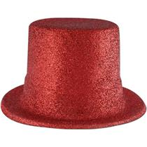 24 Red Glitter Top Hats