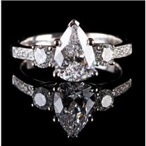 18k White Gold Pear Cut Diamond Engagement Ring W/ GIA Certification 1.61ctw
