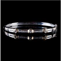 14k White & Yellow Gold Two-Tone Round Cut Diamond Bangle Bracelet .78ctw