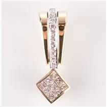 14k Yellow & White Gold Princess Cut Diamond Invisible Set Slide Pendant 1.09ctw