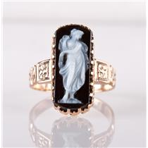 Vintage 1890's Victorian 18k Rose Gold Rectangle Cut Onyx Cameo Ring