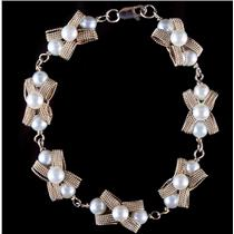 """Vintage 1960's 14k Yellow Gold Cultured Pearl """"Bow"""" Bracelet 7.5"""" Length"""