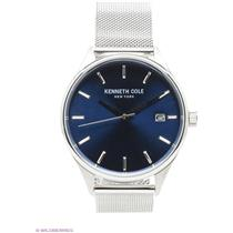 Kenneth Cole 10030837. All Steel Men's Silver-Tone Round Watch w/Date Blue Dial