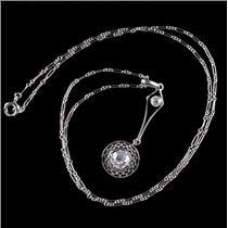 Vintage 1920's Platinum Old Euro Cut Diamond Solitaire Filigree Necklace .71ctw