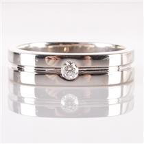 14k White Gold Round Cut Diamond Men's Wedding Band / Ring .12ct